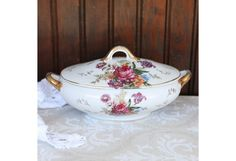 25% OFF Vintage Red Roses & Gold Trim Serving Dish with Lid