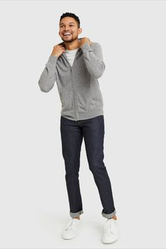 Cashmere – as a classic, full-zip hoodie. Everyone's -to winter , knit in ridiculously soft Grade-A Mongolian cashmere. Elevated enough for layering at work and luxuriously cozy for weekend lounging. Cashmere Sweater Men, Men Sweater, Home Outfit, Classic Man, Full Zip Hoodie, Hoodies, Sweatshirts, Layering, Heather Grey