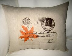 Antique Postcards Shabby Chic Leaf Lumbar by frenchcountrydesigns