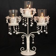 trio candle centerpiece with crystals and pearls