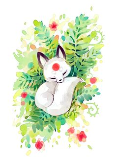 Slumber by Indrė Bankauskaitė, via Behance Kitsune Fox Pet Anime, Anime Animals, Anime Art, Cute Animal Drawings, Kawaii Drawings, Cute Drawings, Drawing Animals, Fox Art, Cute Wallpapers