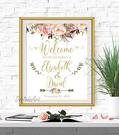 Welcome Wedding sign Printable Pink and Gold Welcome to our
