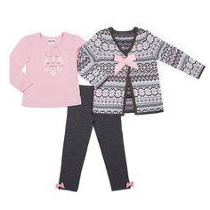 Girls 4-6x Little Lass Cardigan, Tee & Leggings Set, Girl's, Size: