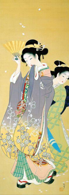 Uemura Shoen Cherry Blossom Viewing (ca. Uemura Shoen Cherry Blossom Viewing (ca. Japanese Prints, Japanese Design, Chinese Painting, Chinese Art, Japanese Illustration, Illustration Art, Asian Artwork, Geisha Art, Google Art Project