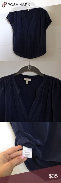 Joie Orly Sandwashed Silk Top Joie Orly Sandwashed Top. Size XS. Navy blue. 100% Silk. Pleating tops the shoulders and runs down the front of a semi-sheer blouse cut from soft washed silk. Excellent condition. Original retail $188 on Revolve. Joie Tops Blouses