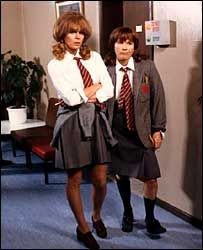 Absolutely Fabulous characters Patsy and Edina in a school 'flashback' sequence