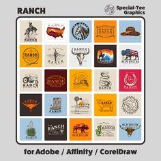 Ranch - TheVectorLab Draw Logo, Store Signage, Affinity Photo, Affinity Designer, Graphic Design Software, Photoshop Illustrator, Coreldraw, One Design, Graphic Design Inspiration