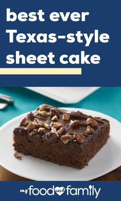 Best-Ever Texas Sheet Cake – Ahh sheet cake, a true celebration special. Whether you've got a family reunion or a neighborhood party, this chocolate dessert recipe is the perfect treat to bring. Sheet Cake Recipes, Cake Mix Recipes, Cupcake Recipes, Cookie Recipes, Cupcake Cakes, Dessert Recipes, Cupcakes, Kinds Of Desserts, Just Desserts