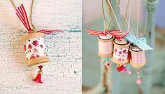 Collares caseros con carretes de hilo de madera y botones - Manualidades fáciles - Manualidades para niños - Charhadas.com