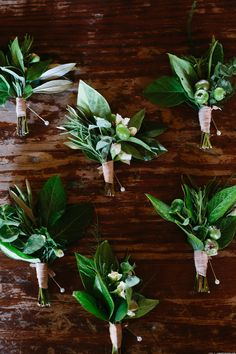 Greenery boutonnieres Floral Design: Sweet Annie Floral Design Photo: Lindsey Ocker Photography