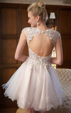 Hot 2015 A-line Wedding Dresses Sheer Neck/Scoop Backless Sleeveless Knee Length 2014 Sexy Lace Appliques Bridal Gowns Dresses - Cool Wedding Dresses And More - Buy Now Prom Girl Dresses, Prom Dresses 2015, Jovani Dresses, Grad Dresses, Short Dresses, Sequin Party Dress, Tulle Dress, Sheer Wedding Dress, Wedding Dresses