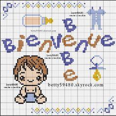 Bébé - baby - bienvenue - point de croix - cross stitch - Blog : http://broderiemimie44.canalblog.com/