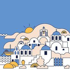 Europe Art For Kids - - - Backpacking Europe Luggage - - Europe Travel Tours Greece Drawing, Greece Painting, Santorini, House Illustration, Digital Illustration, Sketchbook Cover, Cartoon House, Posca Art, Travel Tours