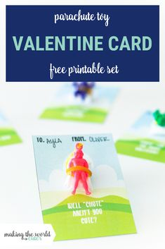 """Well """"Chute"""" these Parachute Valentine cards are sure cute! Add a little paratrooper toy to these free printable cards for some non candy fun! Diy Valentines Cards, Valentine Crafts For Kids, Be My Valentine, Happy Hearts Day, Teacher Cards, Free Printable Gift Tags, Candy Cards, Valentine's Day Diy, Spring Wreaths"""