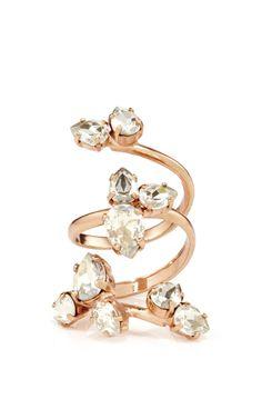 Rose Gold Plated Triple Wrap Ring with Swarovski Details - Ryan Storer Resort 2016 - Preorder now on Moda Operandi