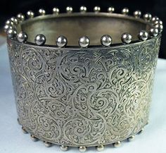 Engraved Victorian Silver Cuff Bangle ~ From The Estate of Joan Munkacsi
