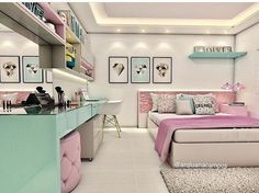 Girl Room Decor Ideas - How can I decorate my bedroom for cheap? Girl Room Decor Ideas - How do you arrange a little girl's room? Room Design, Girl Bedroom Designs, House Rooms, Home Decor, Room Inspiration, Teenage Bedroom, Bedroom Decor, Trendy Bedroom, Dream Rooms