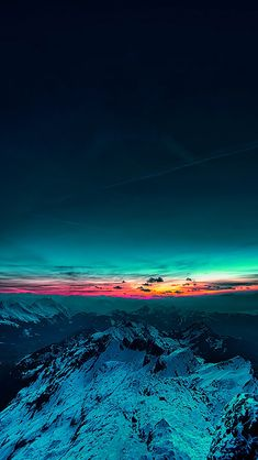 Snow mountains and sunset at far