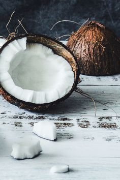 """Coconut oil comes in many forms, each with similar but unique benefits. On the market today, you might even see some bottles labeled """"coconut essential oil"""". But is coconut oil an essential oil? Well, not literally. You see, coconut oil is a carrier oil, not a potent essential oil. It can be used undiluted on your hair and skin. That's why you should always dilute essential oils with coconut oil to use them safely on your body. Diluting Essential Oils, Essential Oils Guide, Coconut Essential Oil, Coconut Oil, Kitty Games, Exotic Fruit, New Star, Cat Facts, Carrier Oils"""