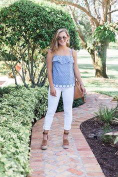 why you can't pull of this season's trends | fashion blogger trendy post on sweetly sally | gingham blue J.Crew top with white AG jeans