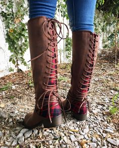 Buffalo Plaid Lace Up Brown Boots
