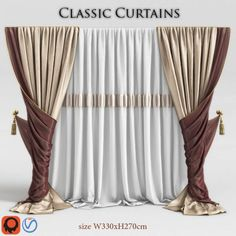Classic Curtain 2 model, decoration curtain model, highly detain model for games and other real-time apps. Living Room Decor Curtains, Home Curtains, Classic Curtains, Modern Curtains, Curtain Styles, Curtain Designs, Rideaux Design, Drapes And Blinds, Custom Drapes