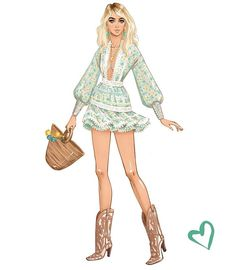 Every now and then you find a dress so cute, it puts you in a better mood ☀️💛😊 . Fashion Artwork, Fashion Design Drawings, Fashion Sketches, Fashion Prints, Fashion Drawing Dresses, Fashion Illustration Dresses, Mode Poster, Moda Chic, Fashion Figures