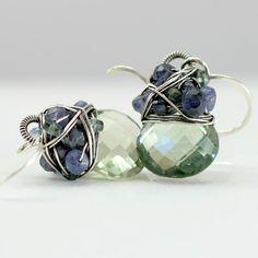 Scarlett Jewelry - Handmade Designer Jewels: Tanzanite and Green Amethyst Bitty Earrings, Past Season & Out of Stock