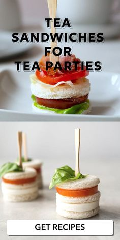 These tea sandwich recipes from Oh How Civilized are so tasty! These delicious small-bite sandwiches are perfect for tea parties and afternoon tea alike. If you're looking for finger sandwiches that are adorable and tasty, I've got them right here! These easy and delicious tea sandwiches are perfect for your next tea time! #teasandwhiches #fingersandwhiches #easyrecipe #foodanddrink Tea Party Desserts, Tea Party Menu, Party Snacks, Appetizers For Party, Fall Party Foods, Tea Party Foods, Bite Size Appetizers, Canapes Recipes, Tea Recipes