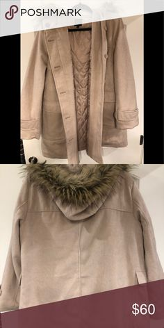 Lane Bryant coat with Faux fur hood I absolutely ADORE this coat! It is a soft pink and has a really pretty faux fur hood. There is nothing wrong with this, I never got the chance to wear this past winter because it is just too long for my frame. ❤️ Lane Bryant Jackets & Coats