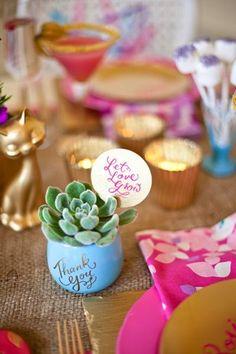 """""""let love grow"""" - mini planted succulent wedding favor"""