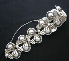 Bracelet | Margot de Taxco.  Sterling silver. ca 1948 - 1978. Taxco / Mexican
