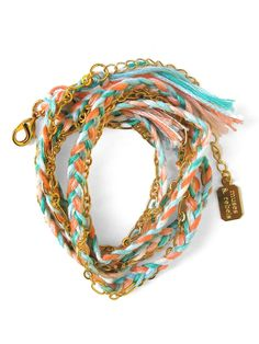 Gold Sun Faded Braided Wrap Bracelet