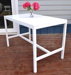 only $20 in lumber to create this super cute little outdoor dining table!! :) Love it! via ana-white.com