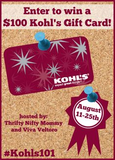 Back to school shopping will be much easier with a $100 Kohl's Gift Card! Enter to win!
