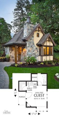 Tudor Cottage Tiny House-Adorable Tiny House Floor Plans For Building Your . - Tudor Cottage Tiny House-Adorable Tiny House Floor Plans For Building Your Dream … - Tudor Cottage, Tudor House, Cozy Cottage, Cottage In The Woods, Tiny House Cabin, Tiny House Living, Tiny House Kitchens, Cottage Design, Tiny House Design