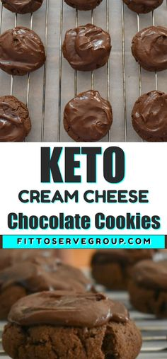 These keto cream cheese chocolate cookies make the perfect low carb chocolate treat. They are low in carbs, gluten-free, sugar-free, and nut-free. What makes these keto cookies extra special is the rich chocolate glaze that tops them. And because these cookies are so decadent one cookie will satisfy your chocolate craving. #ketocreamcheesechocolatecookies