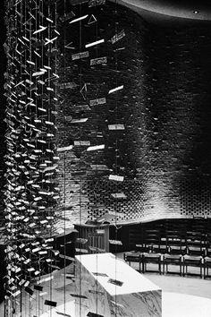 Eero Saarinen and Associates, MIT Chapel (Cambridge, MA, 1950-55), 1956. Interior with illuminated altarpiece screen (1955) by Harry Bertoia