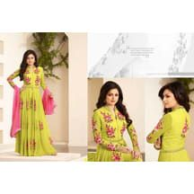 2a51f0ea3 Om Silk Mills Craftsvilla Sepecial Exclusive Designer Collection Parrot  Colour Salwar Suits Party Gowns Online,