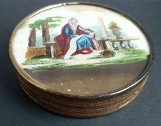ancienne boîte XIX carton ronde gravure sous-verre scène biblique Napoléon III