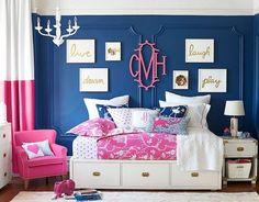 Looking for inspiration to decorate your daughter's room? Check out these Adorable, creative and fun girls' bedroom ideas. room decoration, a baby girl room decor, 5 yr old girl room decor. Blue And Pink Bedroom, Blue Girls Rooms, Teen Girl Bedrooms, Little Girl Rooms, Teen Bedroom, Bedroom Decor, Bedroom Ideas, Preteen Girls Rooms, Preppy Bedroom