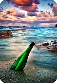 Bottle on the sand...