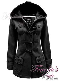 LADIES WOMENS BUTTON TOGGLE DUFFLE TRENCH POCKET HOODED JACKET COAT
