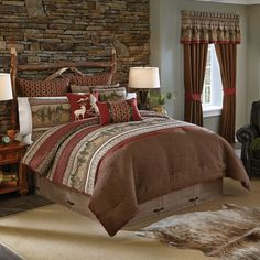 Beautiful bedding, if you want a  rustic, cozy bedroom with your rustic hunting husband. Just beautiful and romantic.  I love this one! #HomeSweetHome# 2017