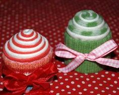 Super easy pincushions made froms sweater and fabric scraps, rolled and tied with ribbons! Great gift for kids to make!