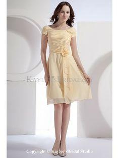 Chiffon Bateau Neckline Knee-Length A-line Bridesmaid Dress with Flower