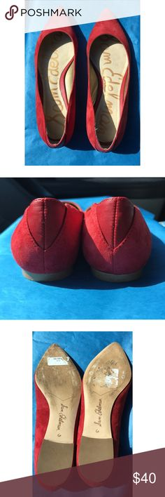 Sam Edelman Rae Suede Pointed Toe Flats Bright red suede pointed toe flats in excellent used condition. Originally purchased from Nordstrom and worn a few times. Only signs of wear are on the soles as well as some residue from the price sticker. Sam Edelman Shoes Flats & Loafers