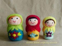 Needle felted Matryoshka dolls (set of 3) by FunFeltByWinnie on Etsy https://www.etsy.com/listing/187324395/needle-felted-matryoshka-dolls-set-of-3
