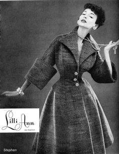 Dorian Leigh in a Lilli Ann ad, 1954