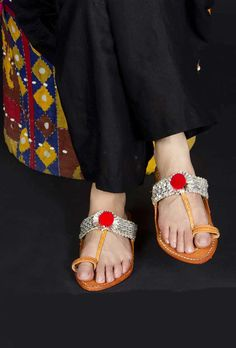 Gota Kolhapuri Chappal Color: Brown, silver & multi-color Material: Genuine leather & gota Finish: Hand-Made Inspiration: India